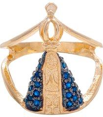 anel drusi semi joias nossa senhora aparecida zircônias dourado