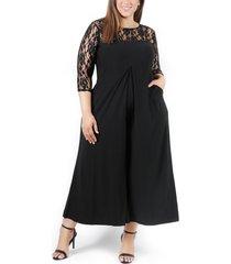 plus size women's coldesina lana lace sleeve jumpsuit, size 1x - black