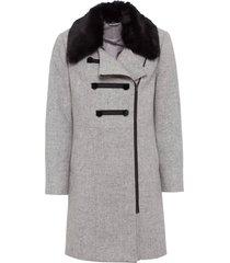 cappotto corto con collo in ecopelliccia (grigio) - bodyflirt