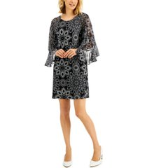 connected petite chiffon-sleeve sheath dress