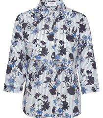 blouse 3/4-sleeve overhemd met lange mouwen blauw gerry weber edition