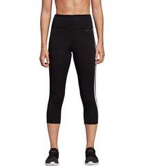 calça legging 3/4 adidas d2m 3 stripes feminina
