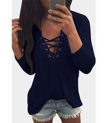 v cuello camiseta holgada con cordones en la parte delantera en azul marino