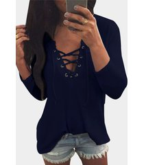 v neck lace up front loose t-shirt in navy