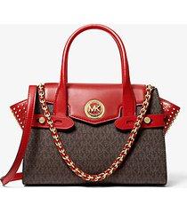 mk borsa a mano carmen piccola in pelle con borchie e logo - marrone/rosso brillante (rosso) - michael kors