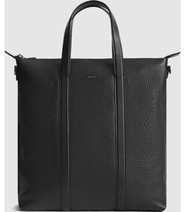 reiss huxley - tumbled leather tote bag in black, mens