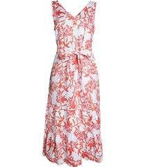 saks fifth avenue women's printed tie linen dress - white floral - size l