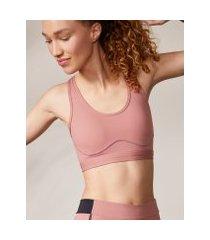 amaro feminino top fitness biodegradável alças cruzadas, rosa claro