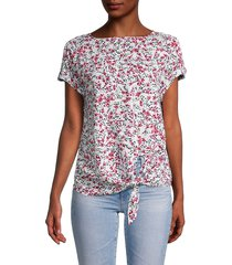 beach lunch lounge women's lumi floral tie-front top - pink confetti - size s