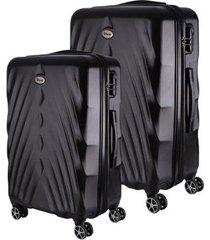 conjunto de 2 mala de viagem expansível abs ika arrow cadeado rodas duplas 360º
