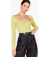 womens talking body knitted square neck top - lime