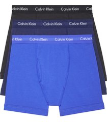 calvin klein 3-pack moisture wicking stretch cotton boxer briefs, size x-large in blue combo at nordstrom