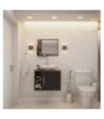 conjunto para banheiro gabinete com cuba folha l38 e espelheira soft 600 nogal com preto ônix