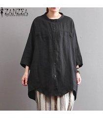 zanzea estilo de cuello redondo botones bolsillos 3/4 pullover camisa de las señoras de otoño ocio básico dobladillo irregular de gran tamaño de la blusa negro -negro