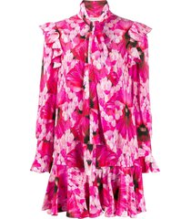 alexander mcqueen hibiscus print flared mini dress - pink