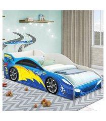 cama carrinho solteiro azul casah