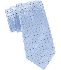 armani collezioni men's dotted silk tie - solid blue