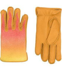 kagawa gloves gradient-effect flame applique gloves - yellow