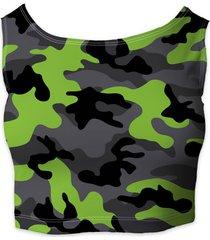 dark camouflage lime green ladies crop top