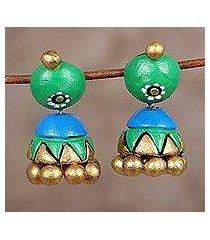 ceramic dangle earrings, 'verdant harmony' (india)