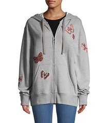 butterfly patch embroidery oversized hoodie