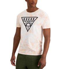 guess men's rising sun logo tie-dye tee