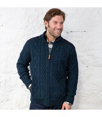 mens full zip aran sweater navy medium