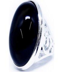 anel  pedra ônix   prata 925