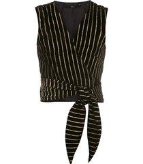 eva tie-up gold striped blouse - black