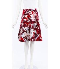 carolina herrera floral cotton a-line skirt beige/red/floral print sz: s