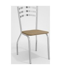 conjunto 4 cadeiras portugal cromada de metal capuccino kappesberg prata/bege