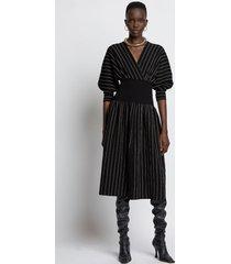 proenza schouler chalk stripe knit dress 10212 black/ecru l