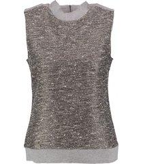garcia grijze glitter trui top