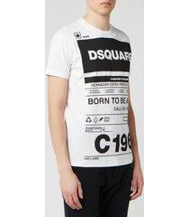 dsquared2 men's born to fight t-shirt - white - xxl