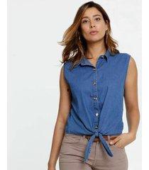 camisa jeans amarração sem manga marisa feminina
