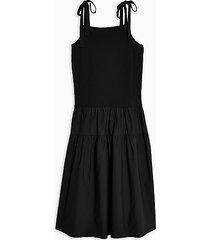 black tiered poplin pinafore dress - black