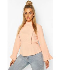 plus pleated longsleeve blouse, coral