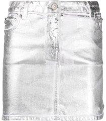 1017 alyx 9sm metallic-print mini skirt - silver