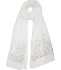 bindya women's embellished long scarf - cream