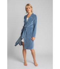pyjama's / nachthemden lalupa la009 fluwelen badjas met een strikceintuur - blauw