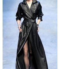 women genuine 100 % lamb skin slim fit  leather designer long trench coat-nv-04