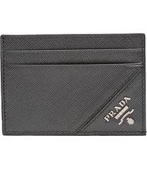 prada saffiano card holder - grey