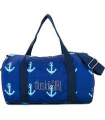 duskii girl anchor print duffle bag - blue