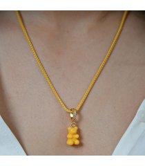 crystal haze women's pave nostalgia bear pendant - new york taxi yellow