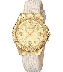 roberto cavalli by franck muller women's swiss quartz beige leather strap watch, 34mm