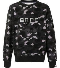 a bathing ape® 13 ape print camouflage sweatshirt - grey
