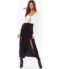 womens can't we just slit down midi skirt - black