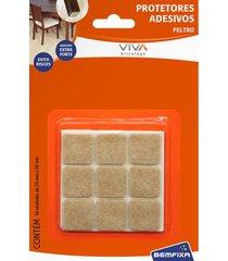 protetor adesivo para móveis bemfixa, feltro quadrado, 30 x 30 mm, 9 peças