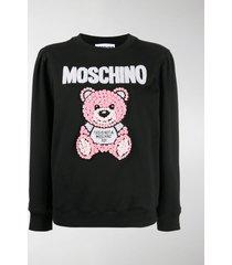moschino teddy bear embroidery sweatshirt