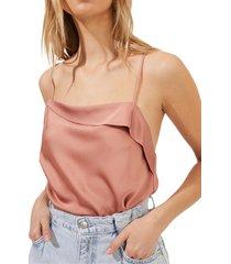 astr the label drape front satin cami bodysuit, size x-large in dark blush at nordstrom